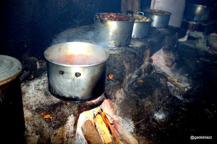 Traditional, log fueled  stove to cook Gudek. Slow cook guarantee all the spices evendly absorbed